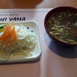 Salade et soupe miso