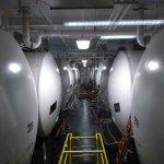 The beer storage tanks