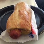 French-style hot dog with baguette.