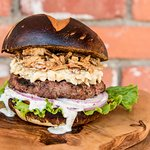 Lamb burger with egg salad and crispy onions