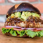 Deep fried portobello burger with guacamole