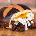 Sloppy Joe with a fried egg