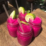 Amazing pitaya (dragon fruit) smoothies for the table!