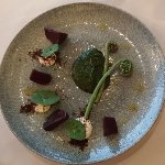Salt baked beetroot, leek ash, goat's curd, watercress puree with Piko Piko