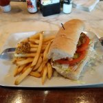 Oyster Po-Boy with French Fries.