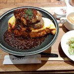 Yaki Omelette Rice topped with Hamburg Steak and Demi-Glace