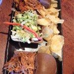 Joe's pulled pork sliders on a taro bun, home made chips, Asian slaw
