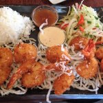 Coconut shrimp with rice and slaw