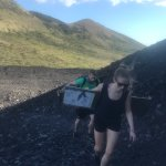 Hiking up the volcano