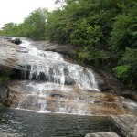 A short trail -- with a lengthy stairway -- at Graveyard Fields leads to this waterfall.