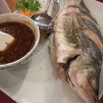 Steamed Whole Striped Bass with Chili-Garlic Sauce on Side