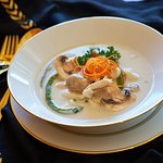 Chicken Coconut Soup : Chicken in coconut cream and  exotic spices.