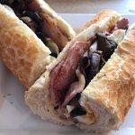 Bacon, egg and (free) mushroom baguette