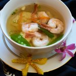 Won Ton Soup : Chicken and shrimp stuffed with wonton skins, snow peas, and shrimp in chicken br