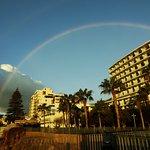 A double rainbow over the hotel