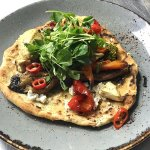 Homemade Topped Flatbread//Zaatar Roasted Veg//Hummus//Green Chilli and Herb Sauce