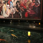 Whimsical mural and nice fountain in lobby