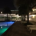 Hotel pool in evening