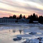Condos on Lake Superior at sunset