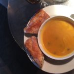 Butternut squash soup and CHARLES PANINI