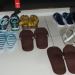 Our shoes/slippers were lined up perfectly after cleaning our room:-)