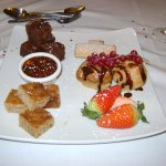 Sharing platter ( Brownies, shortbread, profiteroles, flapjacks, strawberries and chocolate sauc