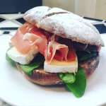 Le Cafe Gourmet - Versaille Sandwich with prosciutto served in our chestnut bread