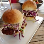 Southern Fried Chicken Sliders with citrus slaw and jalapeno mayo... So yum