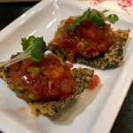 Spicy Tuna Harumaki  chopped tuna, crunch, lettuce rolled with rice paper