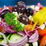 """GREEK SALAD"" Tomato,cucumber,red onion,oregano,feta&olives with a greek style vinaigrette"