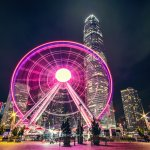 HK observation wheel at night