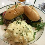 Shaved prime rib sandwich and mashed potatoes