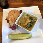 1/2 Pastrami Melt with Poblano Bisque Soup