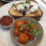 poached eggs and roasted cherry toms