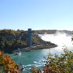 From a distance is The Niagara Falls Observation Tower, Niagara Falls, New York, USA.