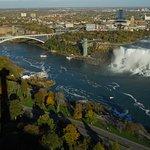 The green tower is The Niagara Falls Observation Tower, Niagara Falls, New York, USA.