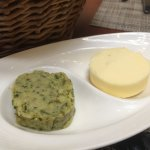 Butter and pesto paste.