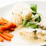 Lighter option Red Snapper with low-calorie rice alternative