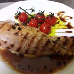 Pork fillet stuffed with potato's poure in pepper sause