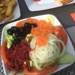 Deliciously colourful salad, poolside bar at lunchtime.