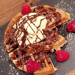 Waffles with chocolate and ice cream