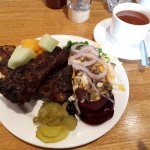 Beef ribs and salad bar with a cup of soup. :D