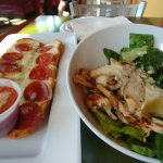 pepperoni pizza bread and chicken caesar