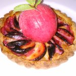 Our plum and almond cream tart with a raspberry-rhurbarb sorbet... and it's gluten-free!