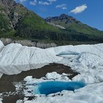 On Root Glacier, just a 30or 40-minute walk from Kennecott