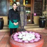 The hotel main entrance with nice lotus flowers