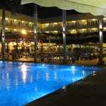 The big pool and restaurant