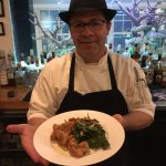Executive Chef Burgess with the fried oysters.