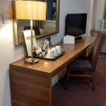 Good sized desk, plenty of refreshments, free Wi-Fi