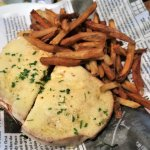 Croque Monsieur (honey cured ham, melted cheese, béchamel on sourdough, french fries)